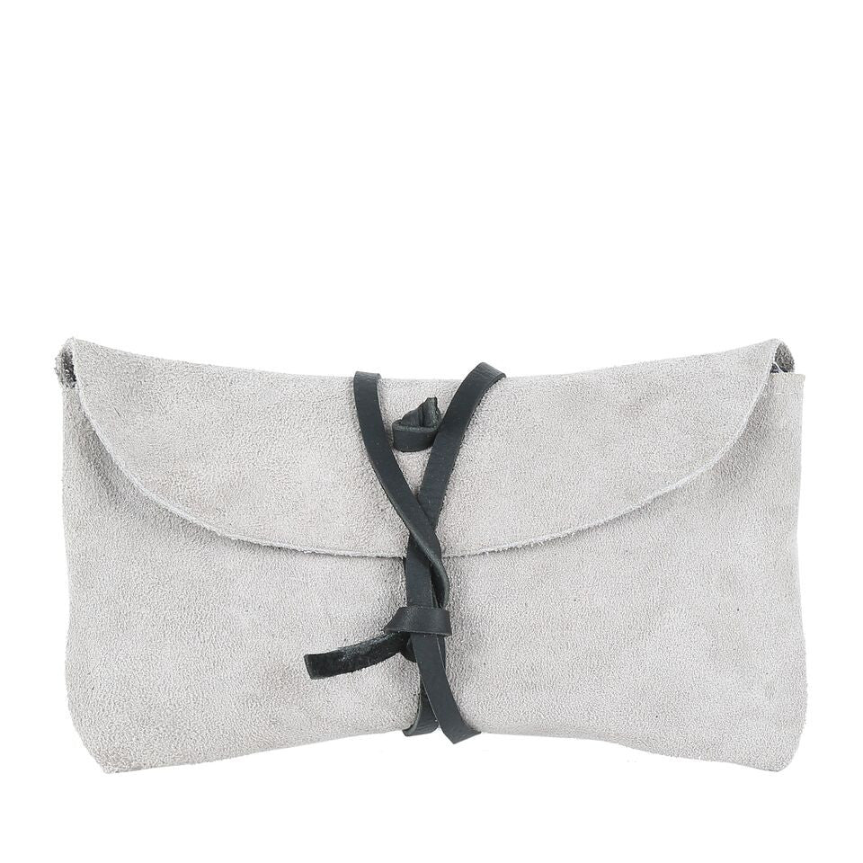 Fold Wallet in Grey Suede