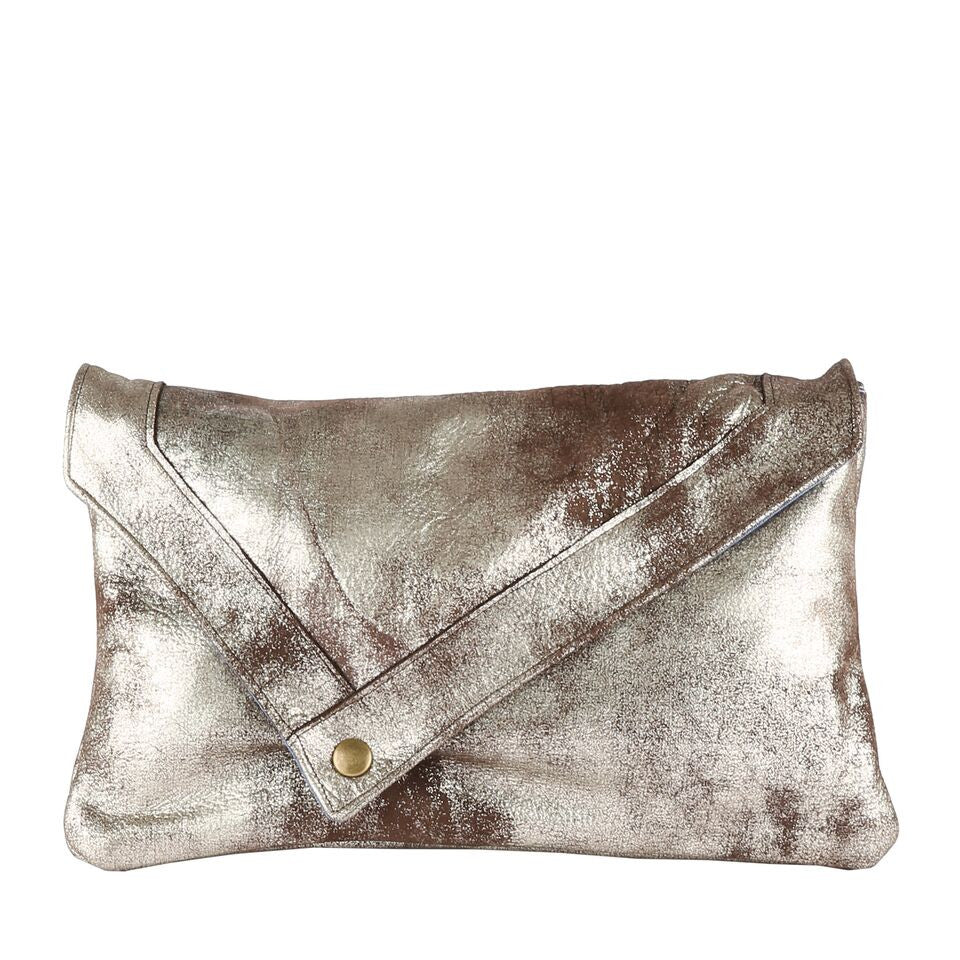 Envelope Clutch in Shimmer Silver Black Leather