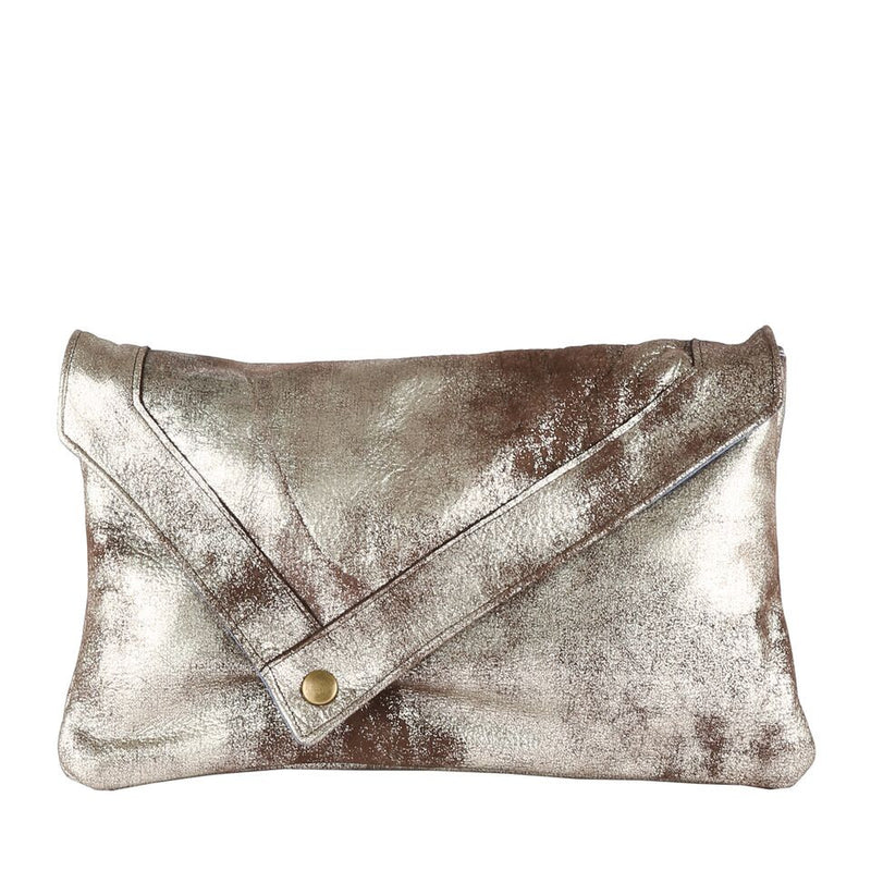 Envelope Clutch in Silver Shimmer Leather