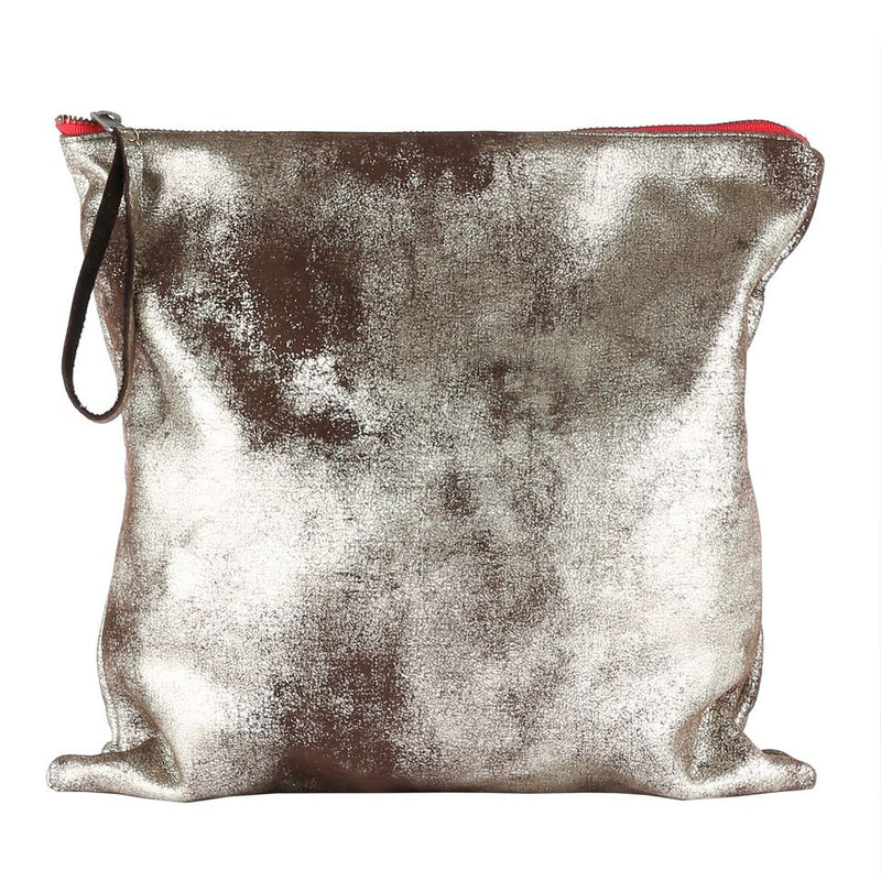 Silver Shimmer Black Leather Large Clutch