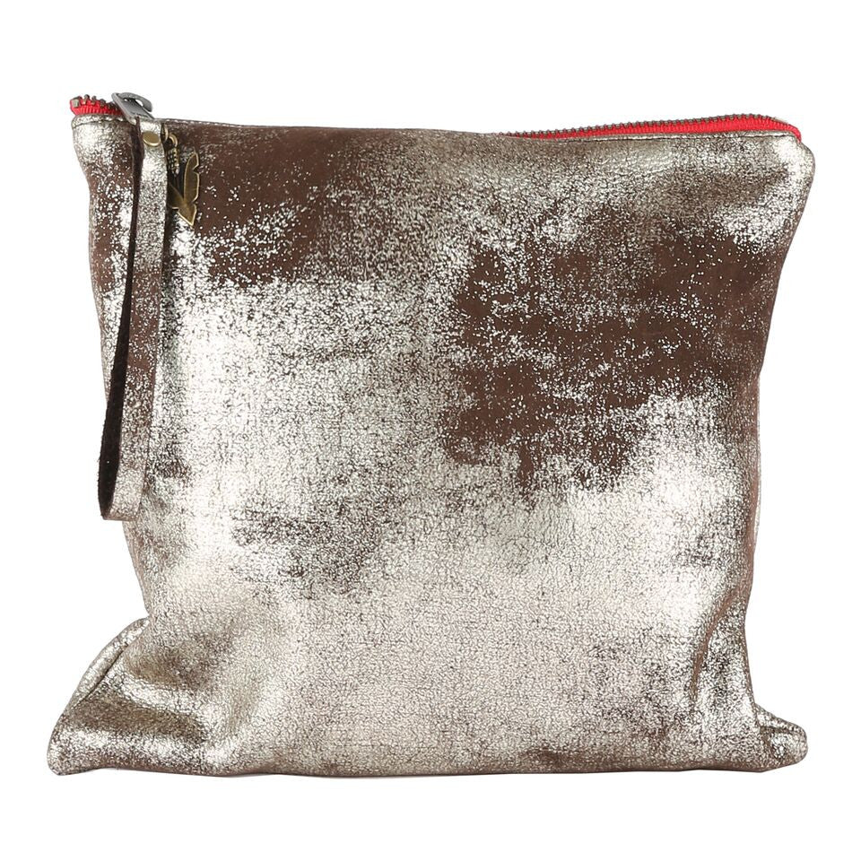 All Leather Clutch in Silver Shimmer Leather