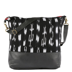Large Hadley Messenger Ikat in Black Leather