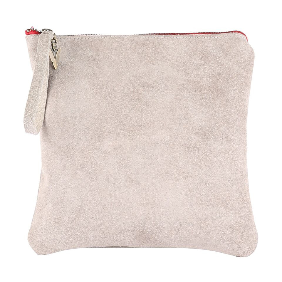 Medium Clutch in Grey Suede Leather