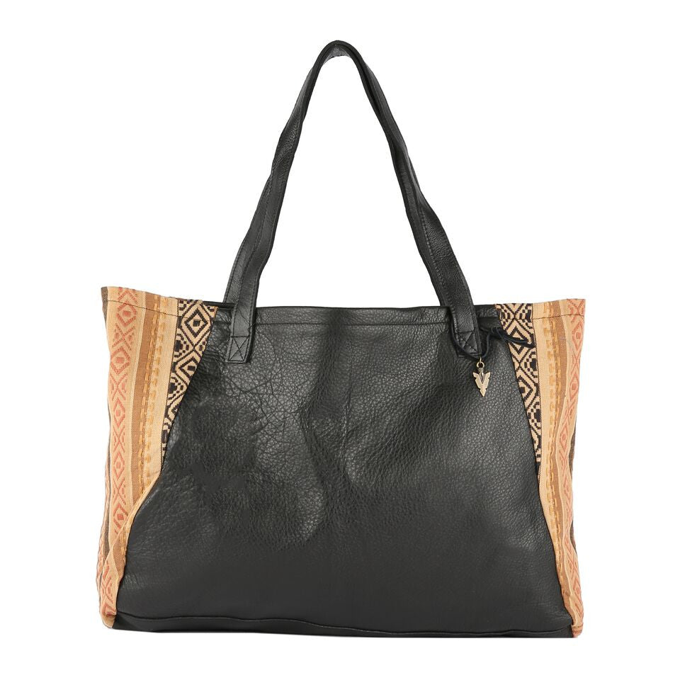 Indira Tosh Tote in Black Leather