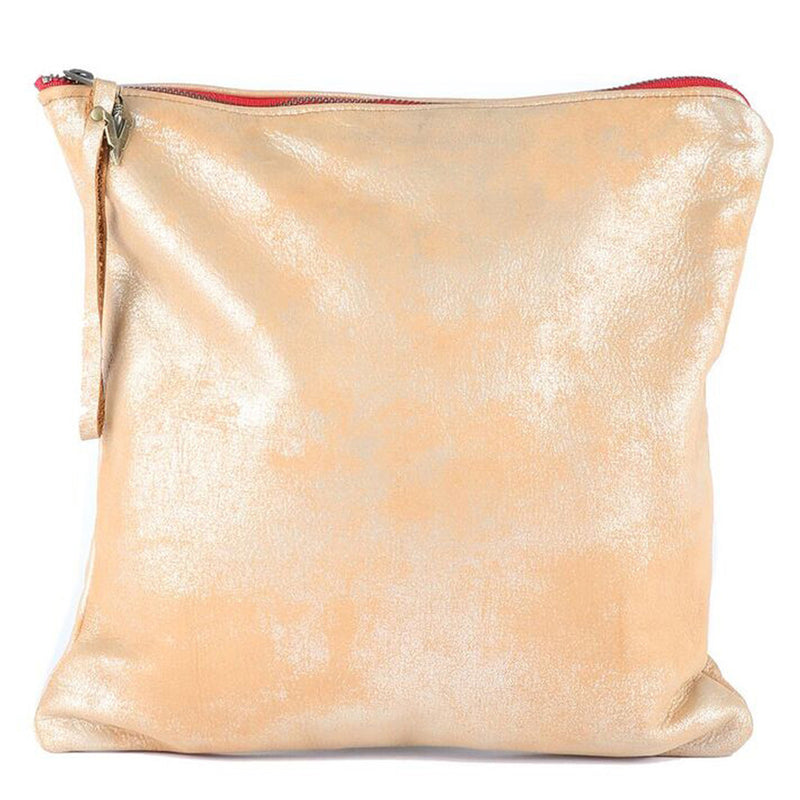 All Leather Large Clutch in Gold Leather