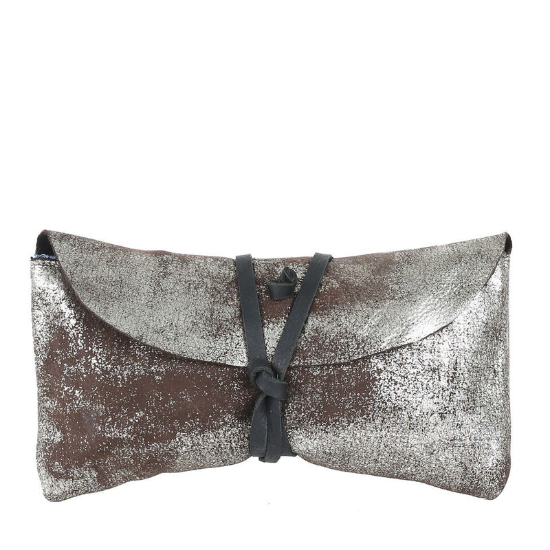 Fold Wallet in Silver Shimmer Black Leather