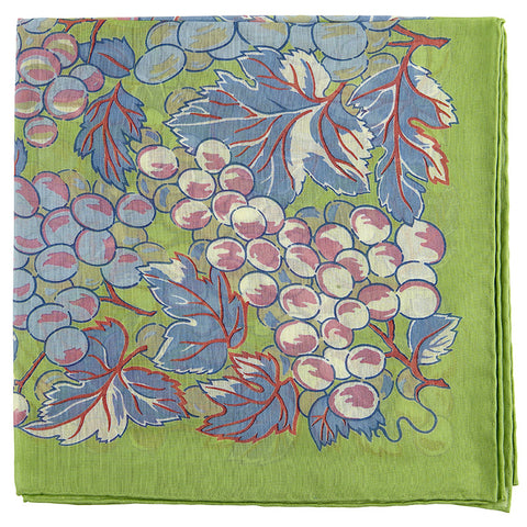 Lime and Blue Vines Cotton Pocket Square Augustus Hare ruSAW0xNAD