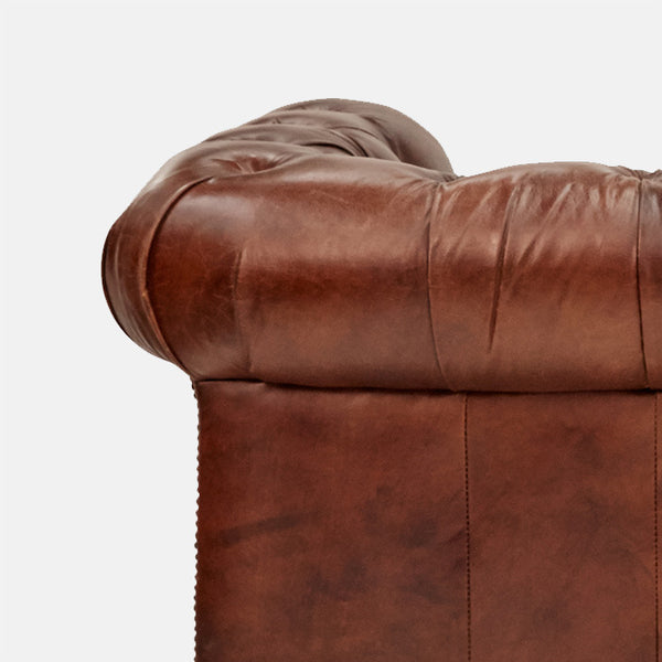Old Bailey Leather sofa Rolled Back