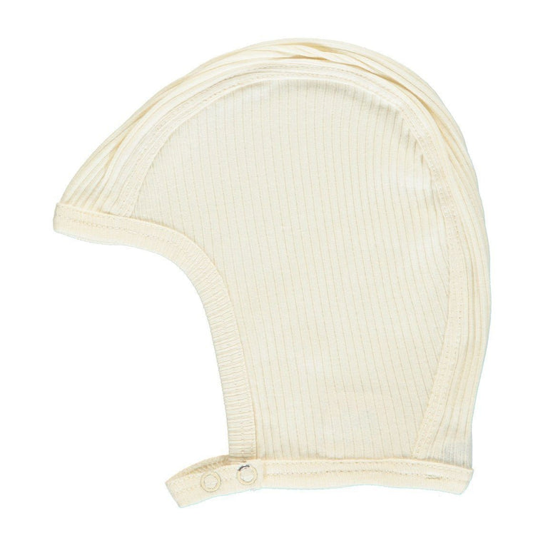 Off White Modal Ribbed Bonnet