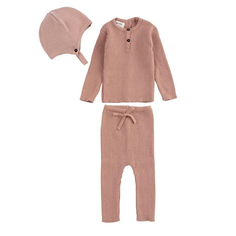 Pink Ribbed Knit 3 Piece Set