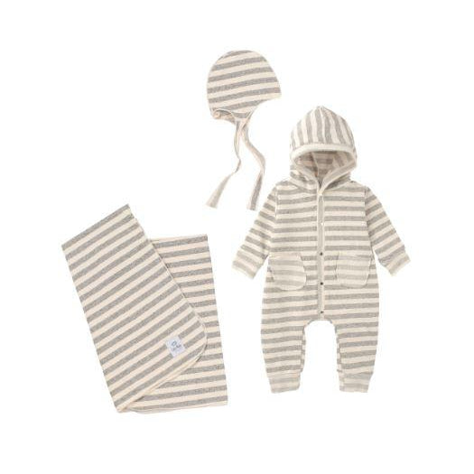 Cream Striped 3 Piece Layette Set