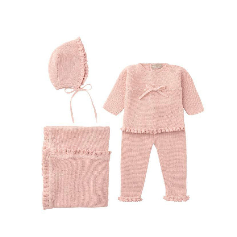 Antique Pink Ruffle 2 Piece Sweater Set