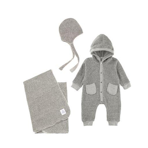 Heather Grey Terry Cotton 3 Piece Layette Set