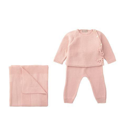 Antique Pink Side Bows Knit 2 Piece Sweater Set
