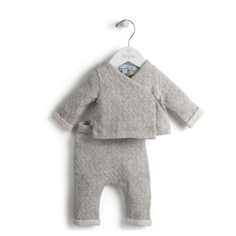 Grey Marl Quilted Two Piece Outfit