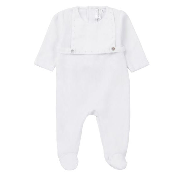White Velour With Overlay 3 Piece Set