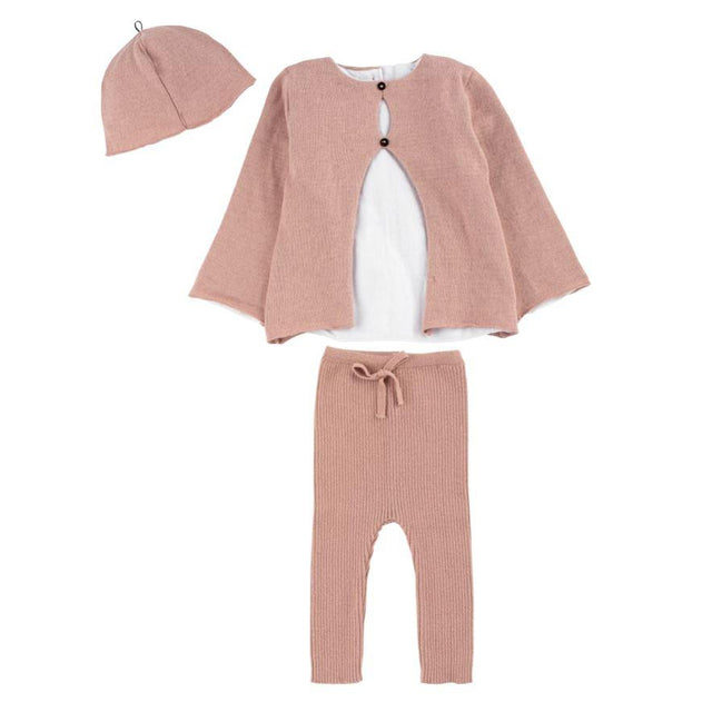 Pink Shirt Knit 3 Piece Set