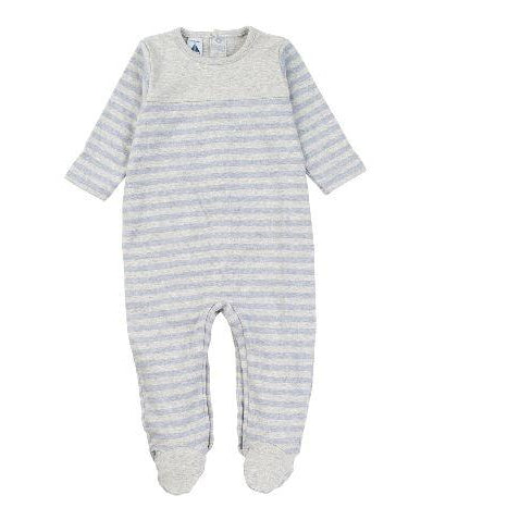 Blue Striped With Yoke Footie