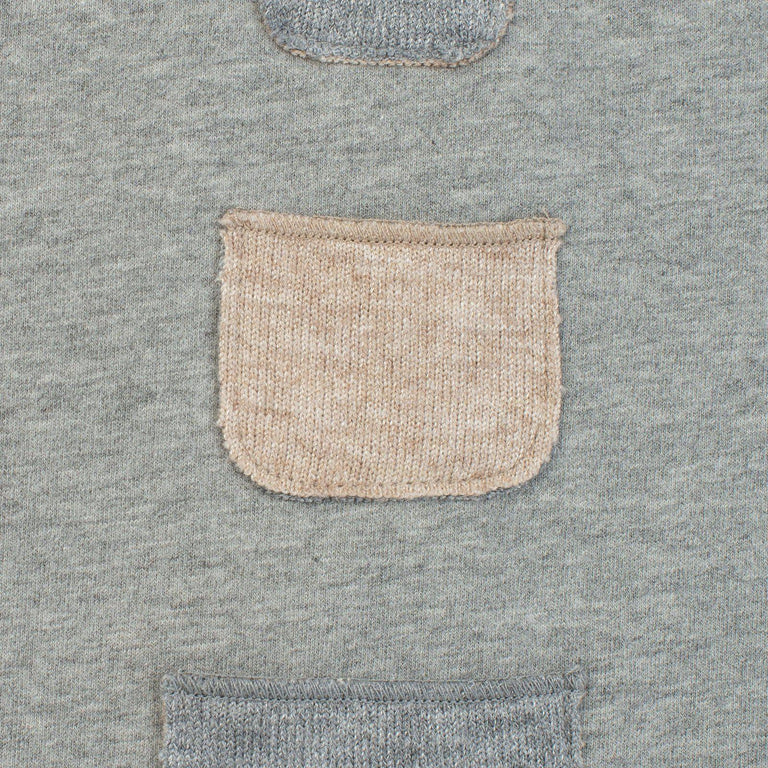 Grey And Camel Melange Pocketed Two Piece Set