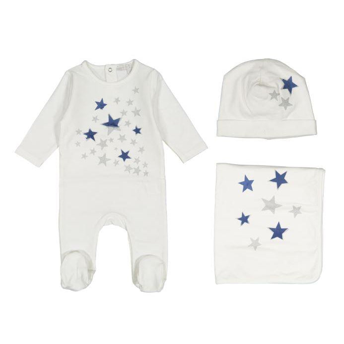 White Star Print 3 Piece Layette Set