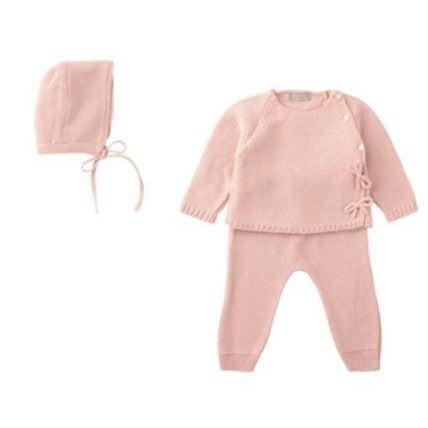 Antique Pink Side Bows Knit 3 Piece Sweater Set