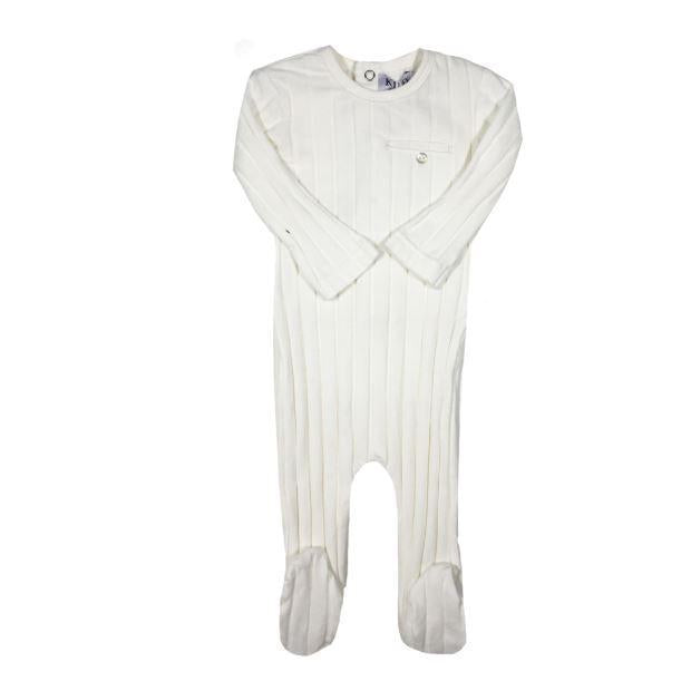 White Pocket Ribbed Footie