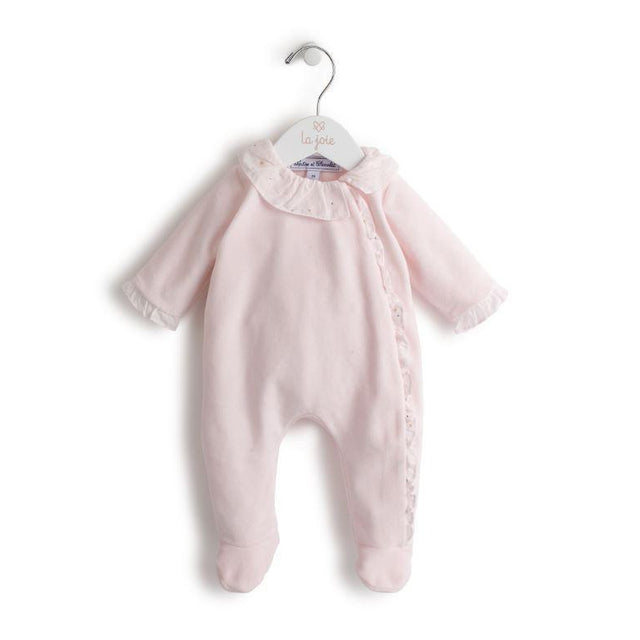 Soft Pink Velvet Footie with Ruffled Collar