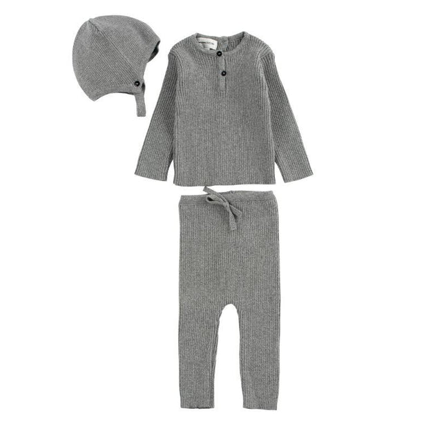 Grey Ribbed Knit 3 Piece Set