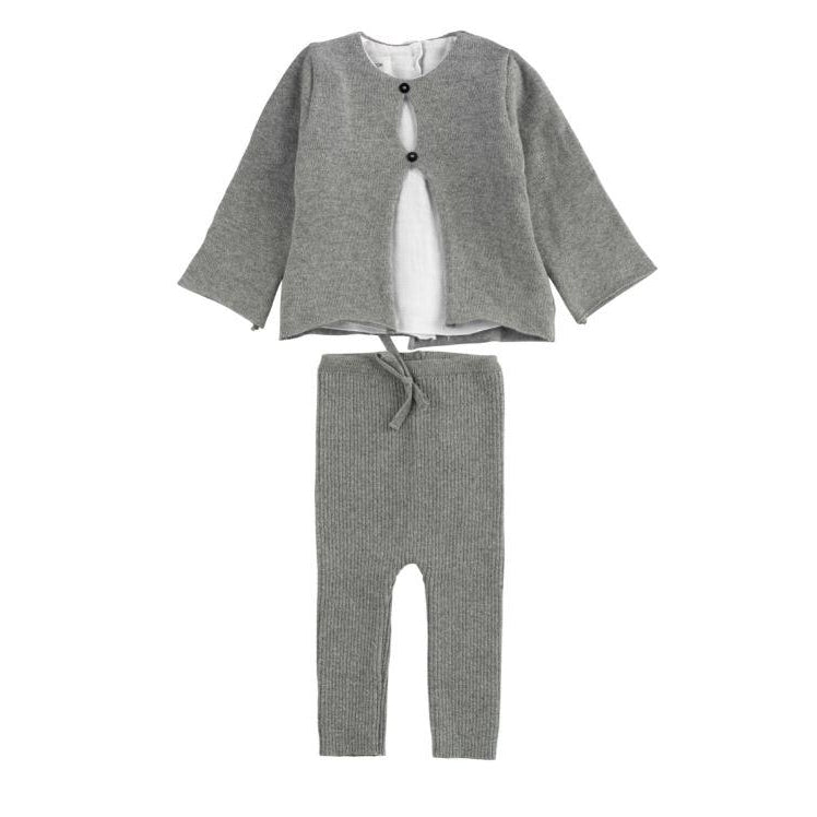Grey Shirt Knit 2 Piece Set
