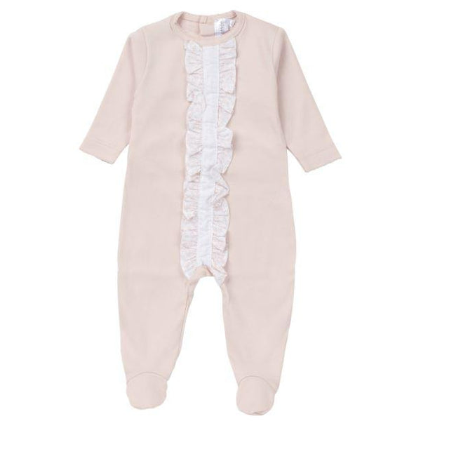 Blush Floral Ruffled Cotton Footie