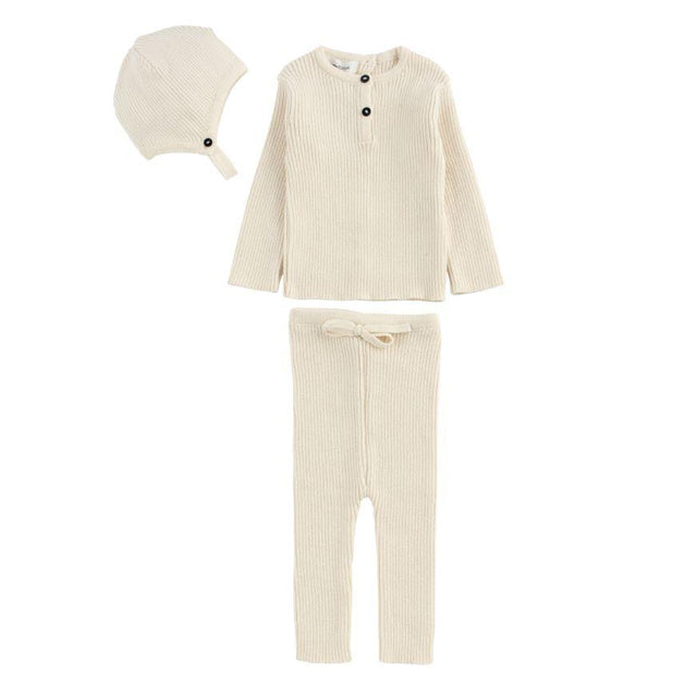 Natural Ribbed Knit 3 Piece Set