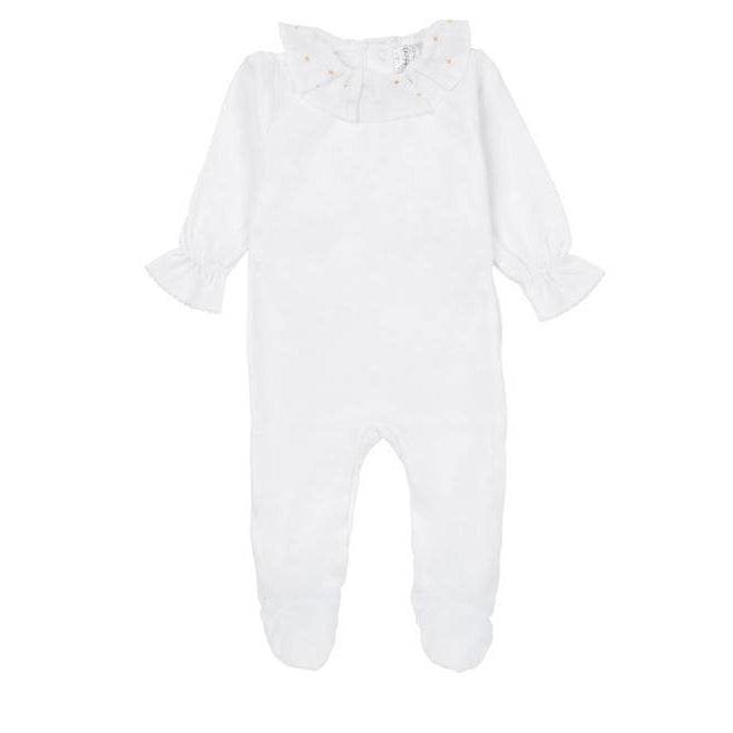 White Velour Gold Dot Ruffle Footie