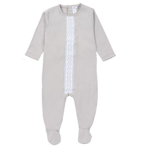 New Grey Cotton Quilted Design Footie