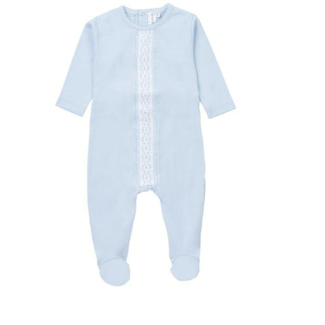 Blue Cotton Pleated Design Footie