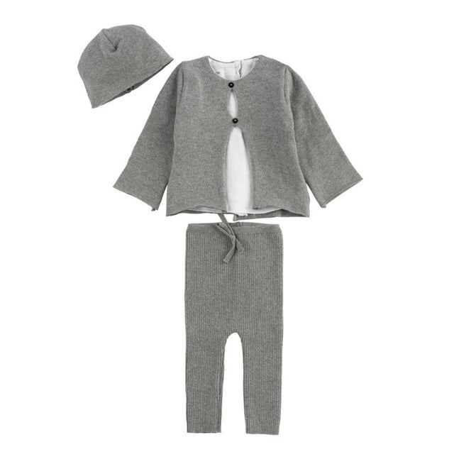 Grey Shirt Knit 3 Piece Set