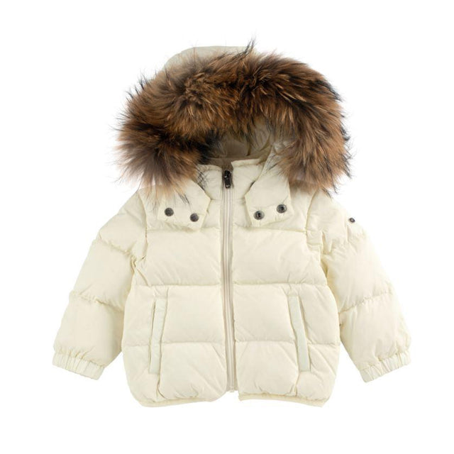 Natural Fur Trimmed Down Hooded Coat