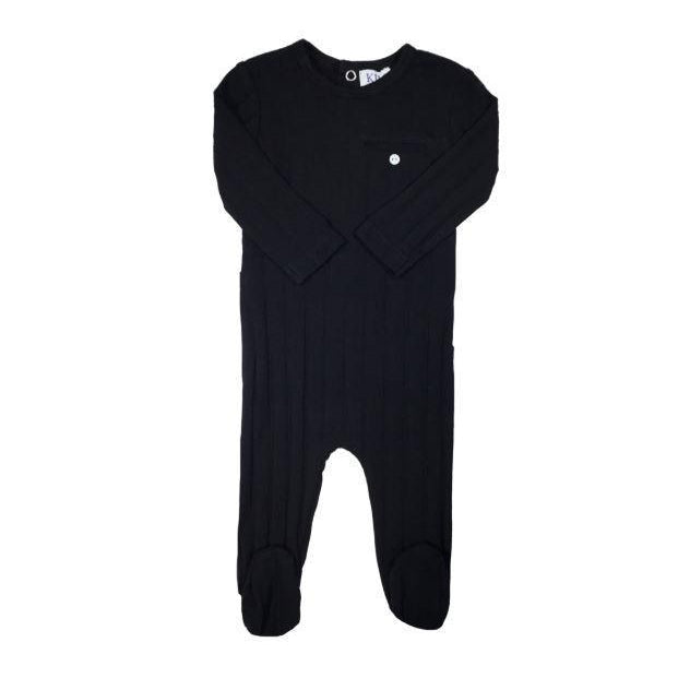 Black Pocket Ribbed Footie