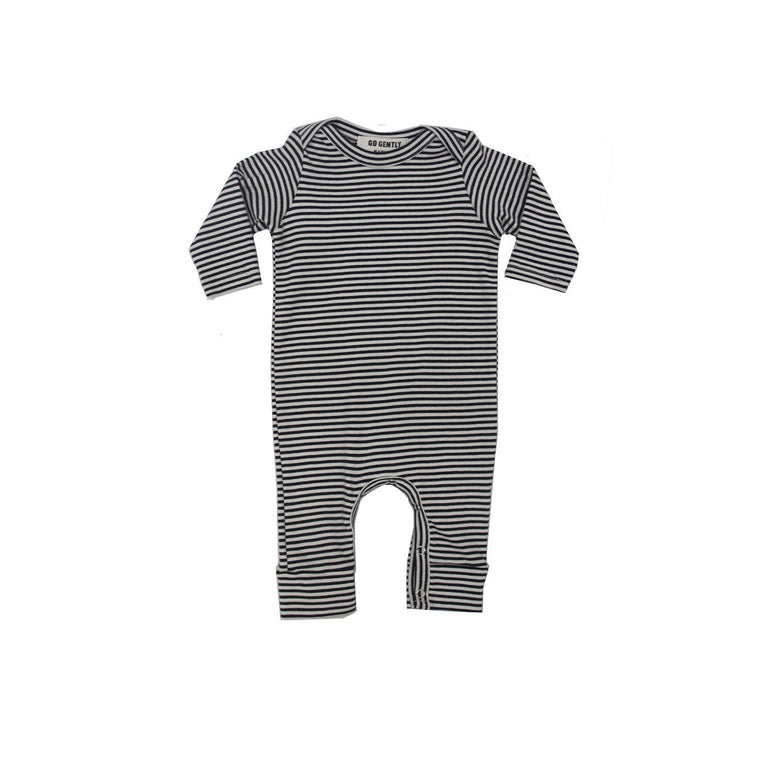 Natural And Navy Stripe Organic Romper