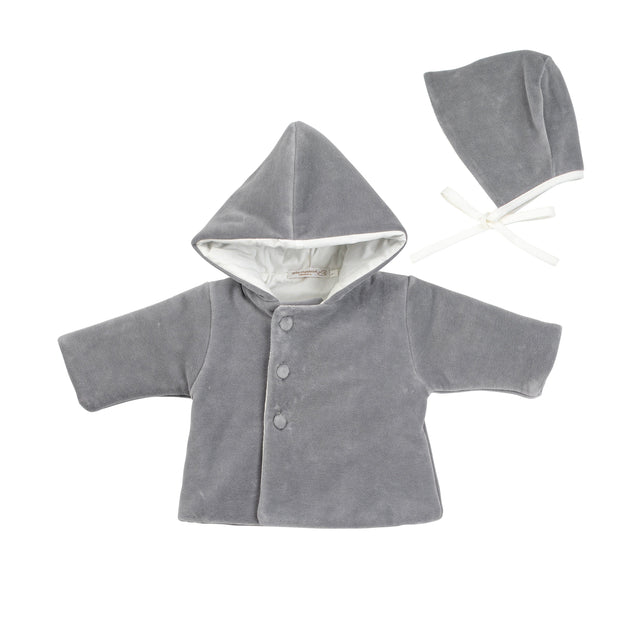 Grey Velour Padded Valtherm Jacket and Bonnet Set