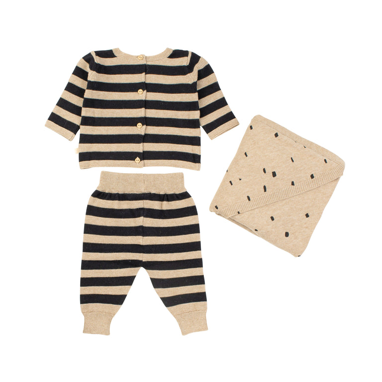 Oatmeal Striped Knit 2 Piece Set