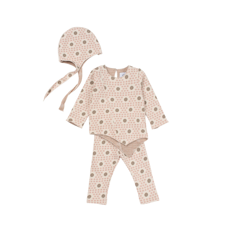 Pink And Chestnut 3 Piece Layette Set
