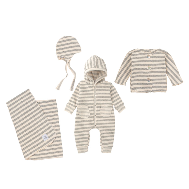 Cream Striped Terry Alex Coverall