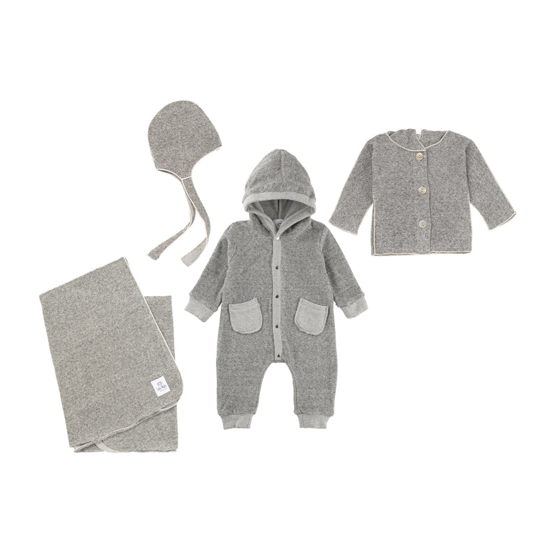 Heather Grey Terry  3 Piece Layette Set