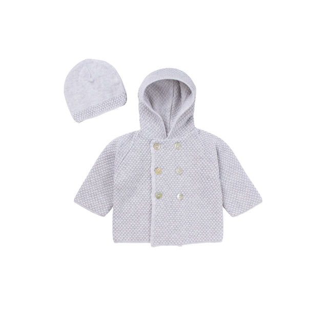 Soft Grey Knit Hooded Jacket and Hat set