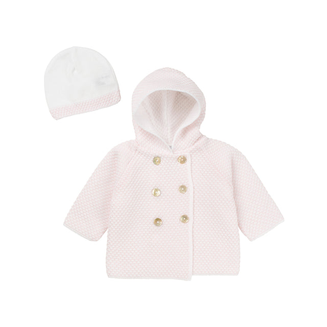 Soft Pink Knit Hooded Jacket