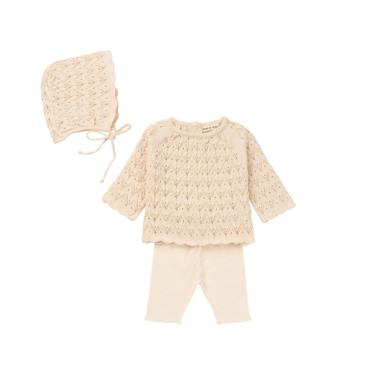 Natural Knit 3 Piece Layette Set