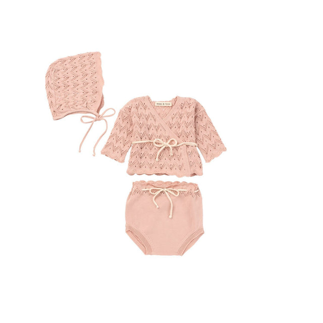 Powder Pink Knit 3 Piece Layette Set