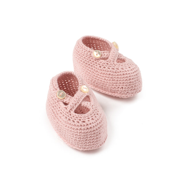 Antique Pink Knit Booties
