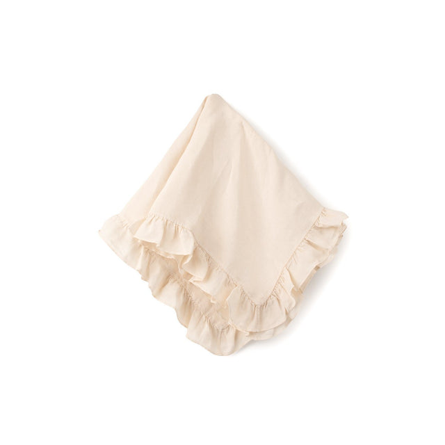 Natural Ruffle Cotton Linen Blanket