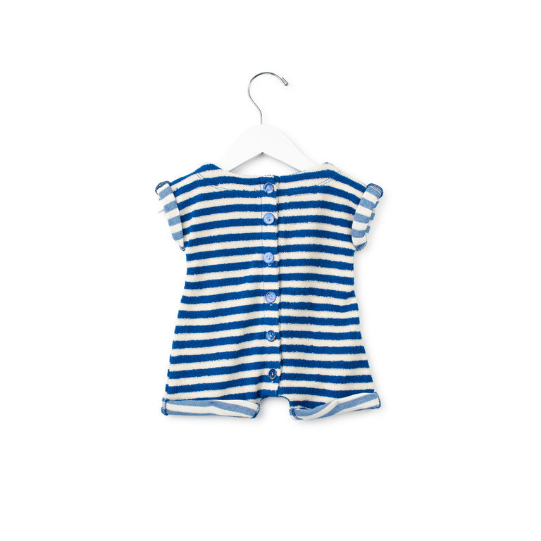 Terry Striped Romper With Buttons